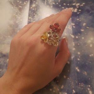Jewelry - Tri Tone CZ Sterling Silver Fashion Ring